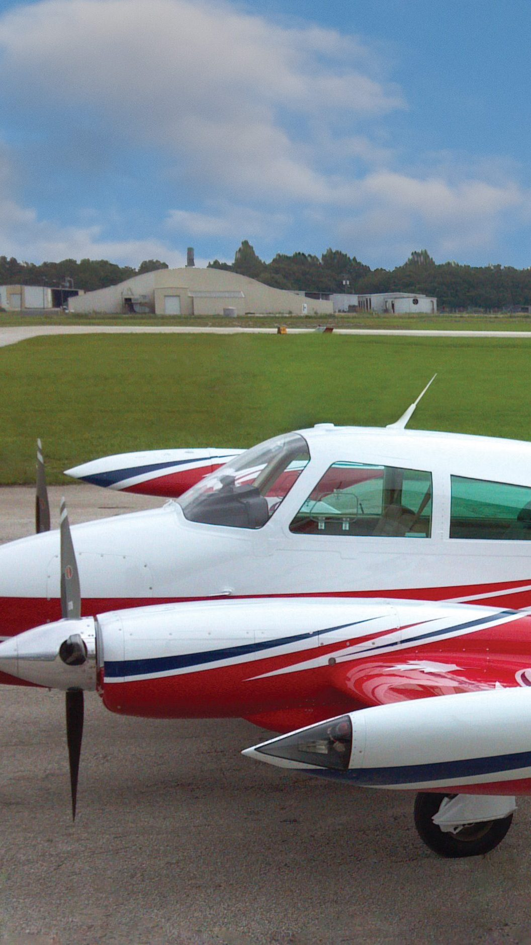 Red,White, and Blue Twin-Engine Cessna